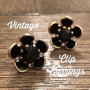 Black Cut Glass Flower Clip Earrings Rhinestone